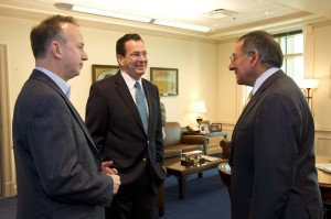 Markell and Malloy with Panetta