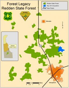Illustration of the location of the new property added to Redden State Forest.