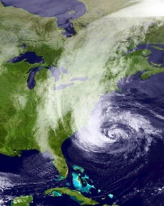 Satellite image of Hurricane Sandy bearing down on the East Coast of the United States.