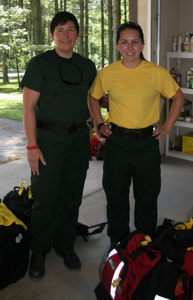 From left, Mother and daughter Jennifer DeCarlo and Amber DeCarlo of Felton are part of the team of 20 firefighters from Delaware battling a 65,000-acre wildfire in Alaska.