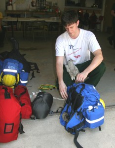 Jonathan Stave of Newark prepares his gear for a two-week assignment with a team of Delaware firefighters battling a 65,000-acre blaze near North Pole, Alaska.
