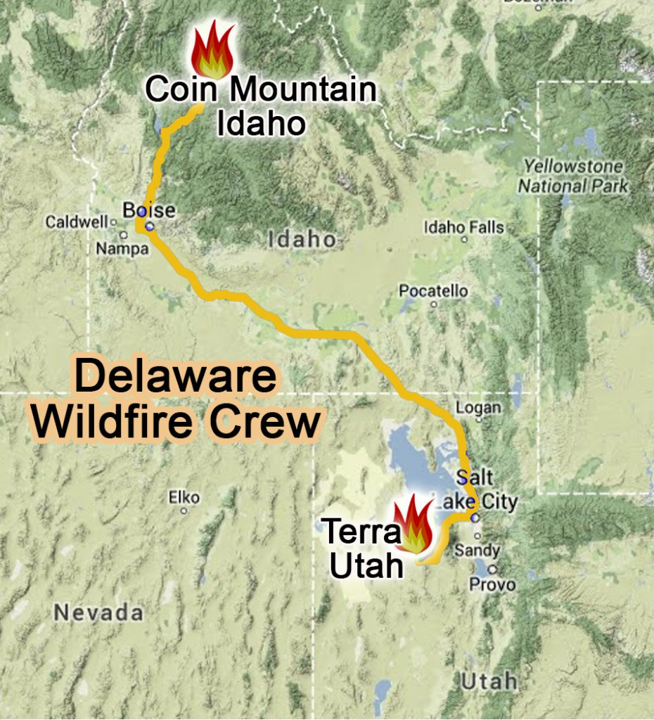Delaware's wildfire crew is headed to Idaho to battle the Coin Mountain Fire, a new fire in the Payette National Forest.
