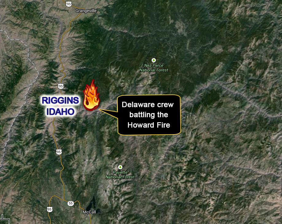 Delaware's wildfire crew is assigned to the Howard Fire in Idaho's Payette National Forest - east of Riggins, Idaho.