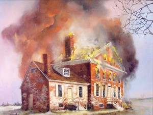Illustration depicting the 1804 fire at the John Dickinson mansion.