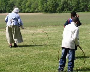 Rolling hoops at the John Dickinson Plantation.