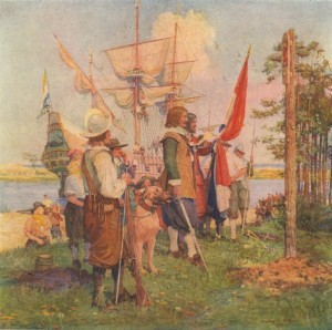 """Landing of the DeVries Colony at Swaanendael, Lewes, Delaware 1631"" by Stanley M. Arthurs. Courtesy of the permanent collection of the University of Delaware. Delaware's Dutch heritage will be explored in the Dutch-American Heritage Day program at the Zwaanendael Museum on Nov. 15, 2014."