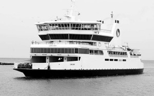 MV Cape May. Constructed in 1985, the vessel served as a Cape May-Lewes ferry until 2007.