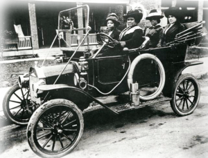Madam C.J. Walker (at the wheel) and three unidentified friends in an undated photo.