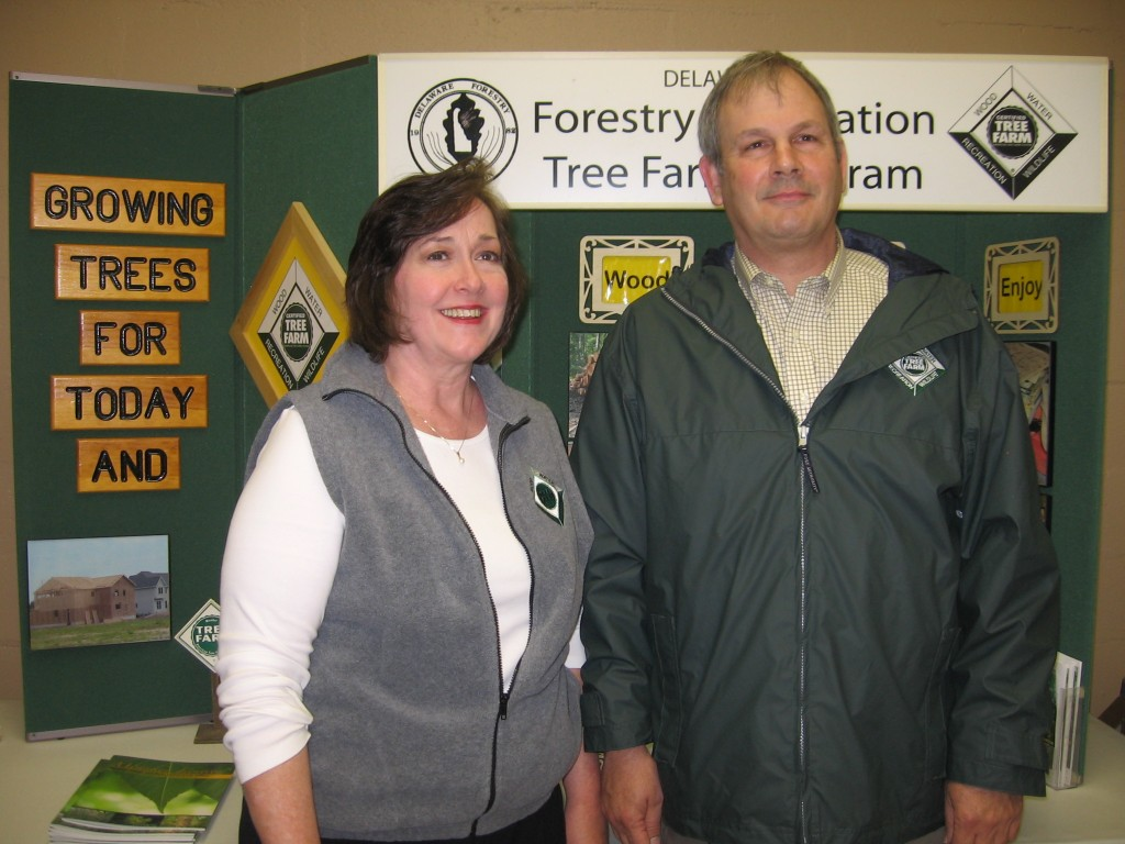From left: With his wife Cathy by his side, Brian Michalski was honored as the 2014 Delaware Tree Farmer of the Year at the annual meeting of the Delaware Forestry Association in Bridgeville recently. Michalski, a four-time director of the state Tree Farm Program, has operated his 59-acre tree farm near Greenwood, Sussex County since 1997. He has also served as DFA's president for four years.
