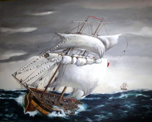 Artistic rendition of the capsizing of the DeBraak by Peggy Kane, 1990. Tours and exhibits at the Zwaanendael Museum explore the fate of this British warship that sank off Cape Henlopen in 1798.