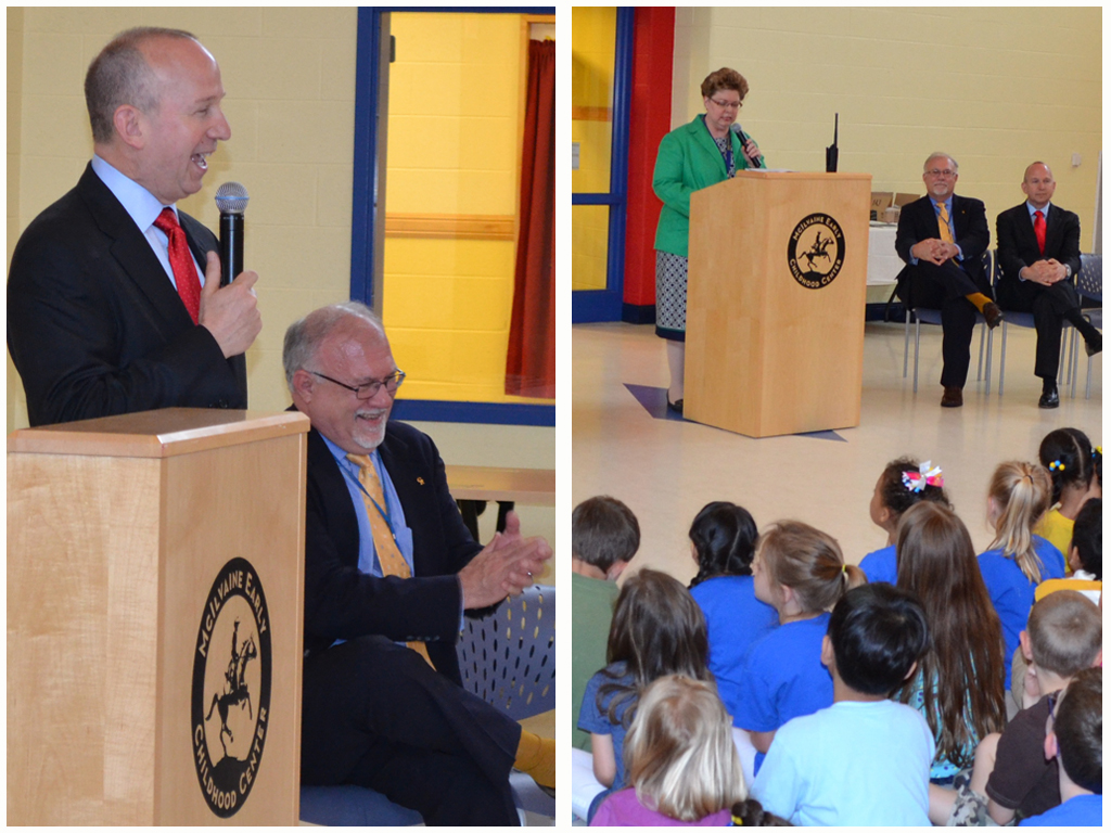 "At left, Governor Markell addresses over 500 enthusiastic kindergarten students at McIlvaine Early Childhood Center as Caesar Rodney School District Superintendent Dr. Kevin Fitzgerald looks on. At right, newly named ""Delaware Principal of the Year"" Dr. Sherry Kijowski presides over the ribbon-cutting ceremony to unveil the school's new ""Tree Walk & Talk Arboretum."""