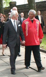 "Elected Chief Dennis Coker of the Lenape Indian Tribe of Delaware (right) talks with King Carl XVI Gustaf of Sweden during the May 2013 ceremonies commemorating the 375th anniversary of the founding of New Sweden. Chief Coker will be speaking at the program, ""The Test of Time: The Relationship Between the Lenape Indian Tribe of Delaware and the Swedish Royal Family,"" at The Old State House on Sept. 1, 2014."