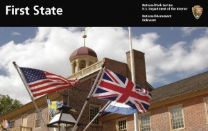 First State National Monument brochure featuring a photo of the New Castle Court House Museum.