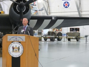 Governor Markell joined members of the General Assembly and veterans at the Air Mobility Command Museum at Dover Air Force Base to sign legislation that allows veterans to more fairly compete for jobs.