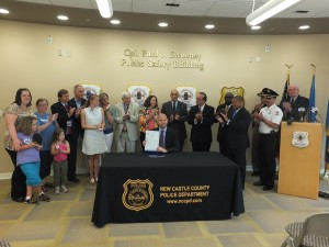 Governor Markell signed House Bill 388, legislation authorizing law enforcement officers to carry Naloxone, a prescription drug that counteracts the effects of opioid-related overdoses.