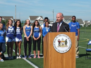 Governor Markell spoke about Senate Bill 205, relating to procedures for dealing with Sudden Cardiac Arrest in student athletes.