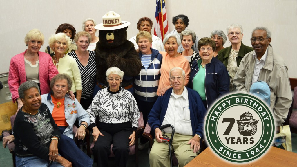 As they have done for many years, senior volunteers from the Modern Maturity Center in Dover joined Smokey Bear recently to celebrate his 70th year of fire prevention. The seniors helped prepare over 4,000 gift bags of Smokey school supplies to distribute to Delaware choolchildren.