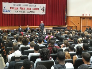 Governor Markell address the senior class of William Penn High School.