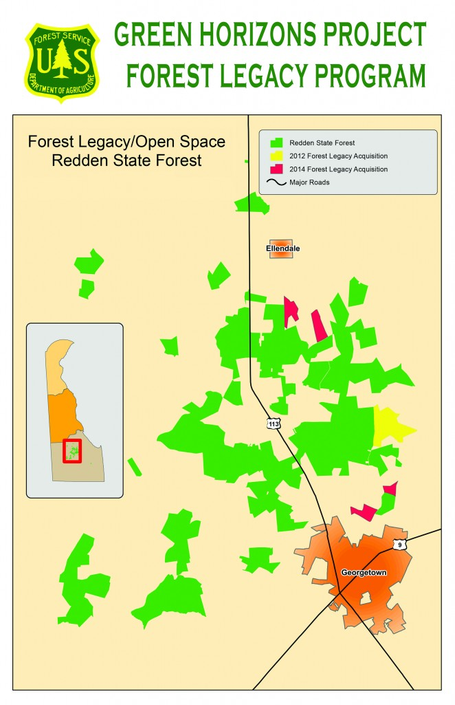 Map shows location of four parcels added to Redden State Forest near Georgetown at a cost of $1.35 million.
