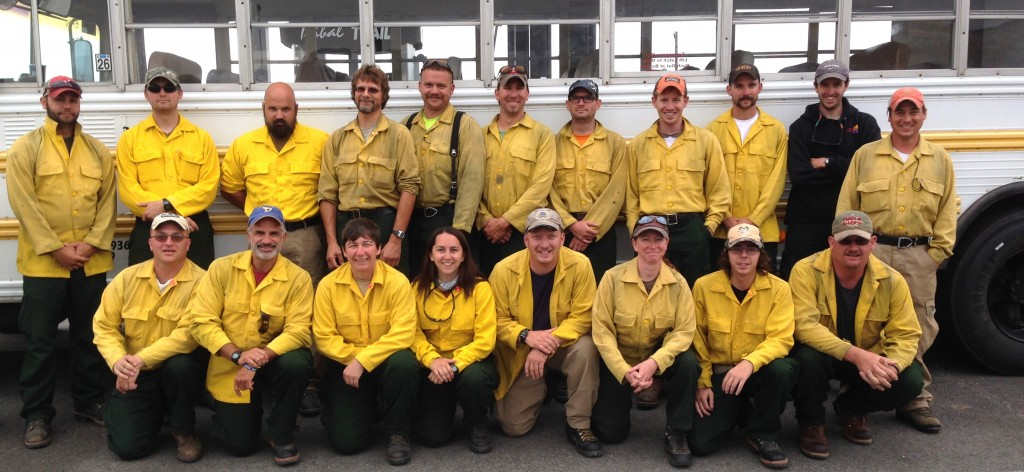 A wildfire crew from the Delaware Forest Service battled the Bugg Road Fire near Tonasket, Washington in July of 2014