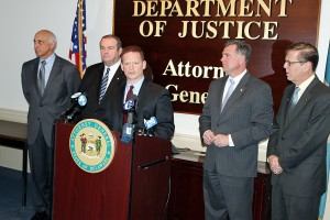 Attorney General Matt Denn with some of the sponsors of online privacy legislation (L to R – Rep. Michael Barbieri, Rep. Earl Jaques, Attorney General Denn, Rep. Bryon Short, and Rep. Michael Ramone).