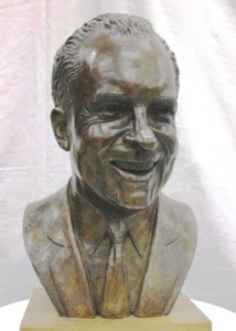 Bust of Richard Nixon by Charles Parks. The work is currently on-display at the New Castle Court House Museum.