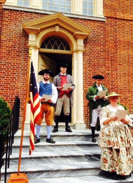 Historical interpreters will recite the Declaration of Independence from the steps of Dover's Old State House on July 4, 2015.