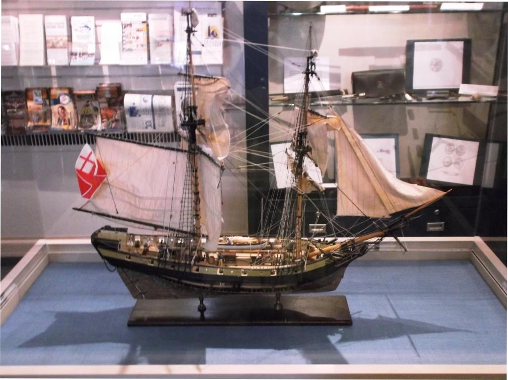 Model of His Majesty's Sloop of War DeBraak. Part of a new display at the Zwaanendael Museum.