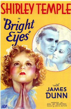 "Promotional poster for the 1934 Shirley Temple film, ""Bright Eyes."""