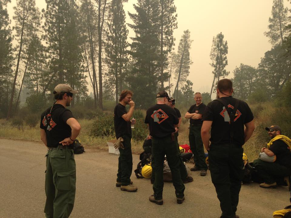 Delaware's wildfire crew was on the scene in California yesterday awaiting orders from the incident command post. Pictured from left: Alex Pratt, Doug Rawlings, Guy Cooper, Adam Keever, Mike Krumrine, Jeff Wilson, and Todd Shaffer.