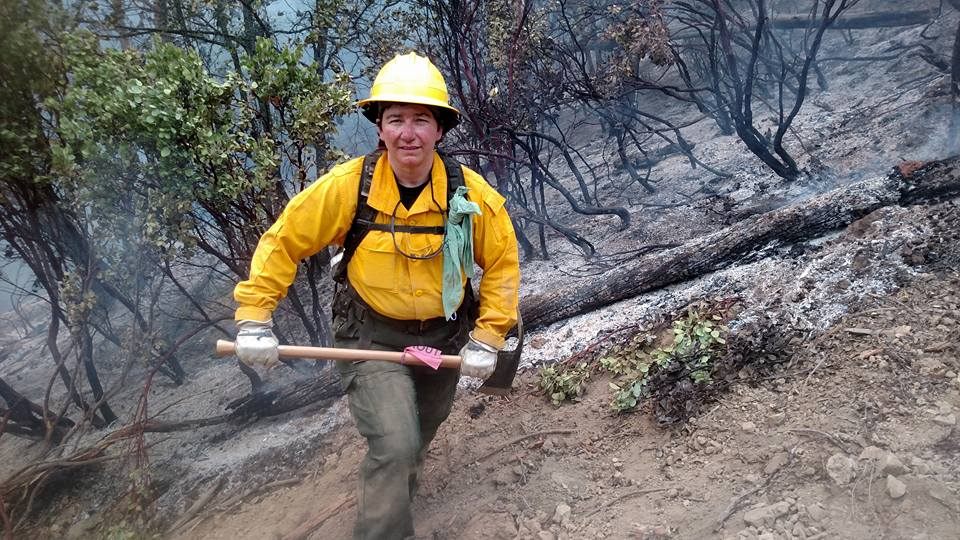 Jennifer DeCarlo of Felton is part of Delaware's wildfire crew battling the Fork Complex Fire, a blaze that has scorched more than 27,000 acres in Northern California's Shasta-Trinity National Forest.