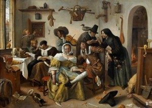 """The World Upside-down,"" oil painting by Jan Steen, 1663. Dutch customs depicted in this and other works of art will be discussed at the Zwaanendael Museum on Nov. 14, 2015."