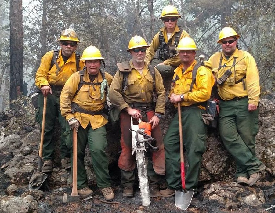From left, Chris Sturm of Penna., Jennifer DeCarlo of Felton, Guy Cooper of Millville, Kyle Hoyd of Felton, Scott Veasey of Millsboro, and Todd Gsell of Townsend were part of the Delaware Forest Service wildfire crew that battled a 36,500-acre blaze in California last summer. The DFS is looking for trainees to join its fire program this year.