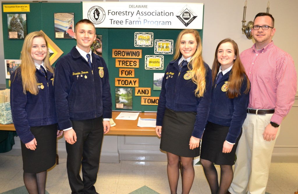 The Middletown FFA chapter's forestry team - (from left) Laura Melancon, Brandon Dawson, Alana Hodge, Lauren Berry and their instructor Jeffrey Billings - were recognized at the annual meeting of the Delaware Forestry Association. The team ranked in the top ten at the 88th National FFA Convention & Expo in Louisville, KY. with Dawson placing fourth in the individual competition in the entire United States.
