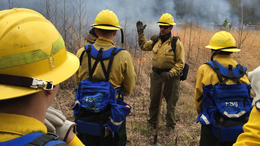 "The Delaware Forest Service's southern regional forester Erich Burkentine of Milton leads crew members through the ""live burn"" training session at the 2015 ""Fire Camp"" for new wildland firefighters."