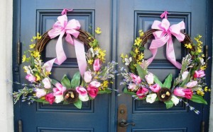 Wreaths made with tulips that were recently installed on the front doors of the Zwaanendael Museum by the Sussex Gardeners.