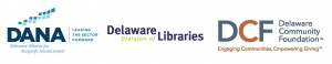Image of logos for Delaware Alliance for Non-Profit Advancement, Delaware Division of Libraries, and the Delaware Community Fountation