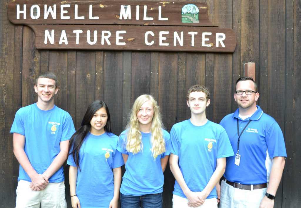The winning Middletown FFA Chapter forestry team: (from left) junior Noah Ancillai, junior Jade Nigro, sophomore Jessica Price, and junior Cade Bosco, along with Jeffrey Billings, FFA Advisor. Middletown will compete at the 89th National FFA Convention & Expo from Oct. 19 to 22, 2016 in Indianapolis, IN.