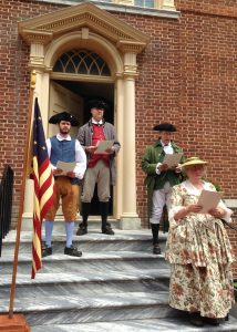 Historical interpreters will recite the Declaration of Independence from the steps of Dover's Old State House on July 4, 2017.