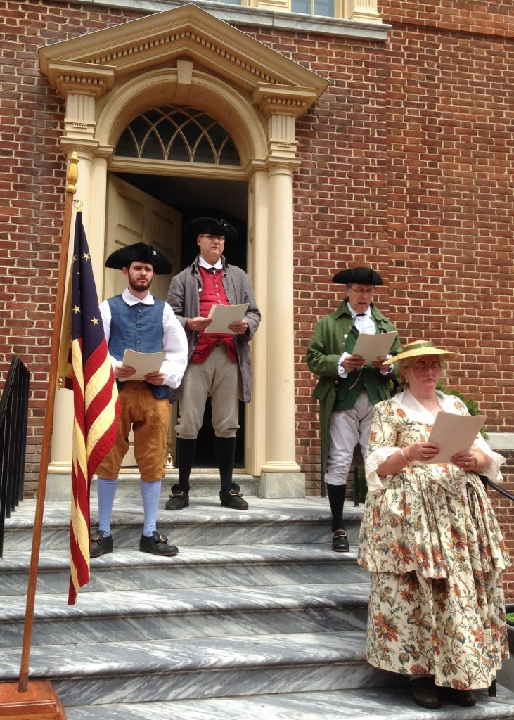Old State House historical interpreters, dressed in period clothing, will recite the Declaration of Independence near the spot where the document was first read to the citizens of Dover in 1776.