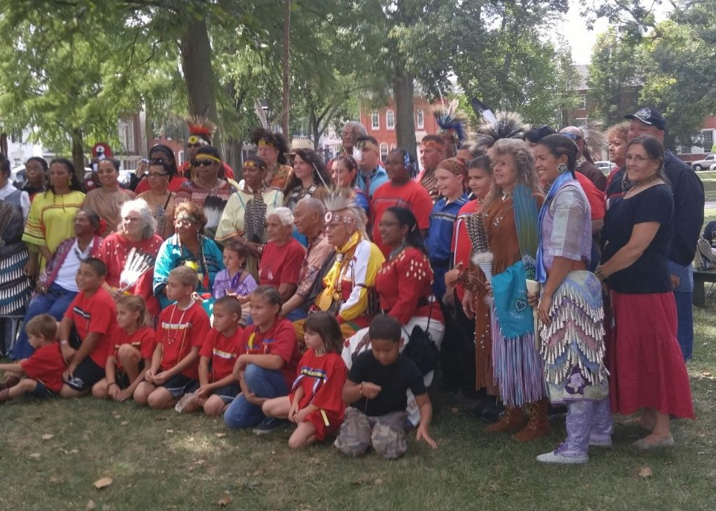 Members of the Lenapé Indian Tribe of Delaware posing on the Dover Green. The tribe will celebrate its heritage with dancing and demonstrations at the Old State House on Sept. 1, 2018.