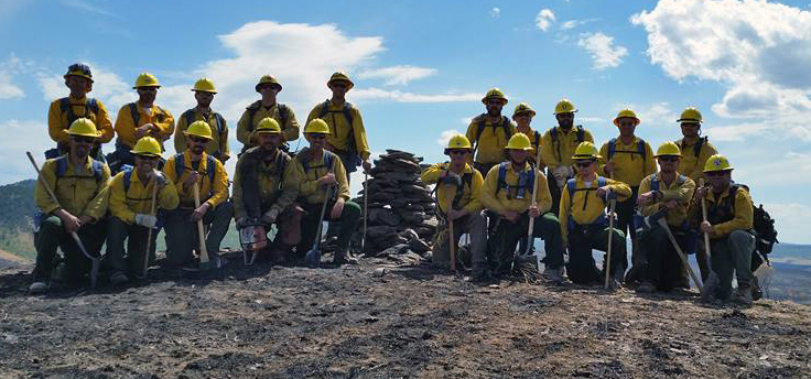 Delaware's wildfire crew on the Henry's Creek Fire near Idaho Falls. The 52,972-acre blaze was 100 percent contained on September 1, thanks to the efforts of the crew and other personnel.