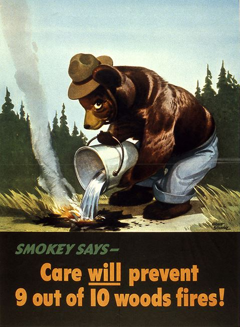 This 1944 poster marked the first time that he character appeared in a campaign to prevent wildfires. Smokey is now the longest-running and most successful public service campaign in U.S. history.