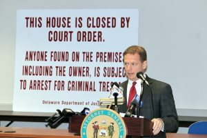 Attorney General Matt Denn announces plans to increase use of the state's Criminal Nuisance Abatement law.