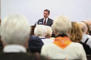 Attorney General Matt Denn speaks at the Osher Lifelong Learning Institute at the University of Delaware
