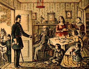 Representación de una familia de mediados del siglo 19 en el Soldiers Memorial, Cuarto Regimiento de Delaware, Compañía A (Impresos y Grabados, Archivos Públicos de Delaware)