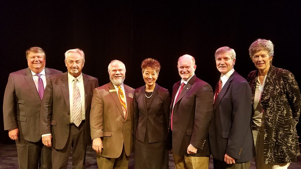 From left to right: J. Mack Wathen, Chair of the Delaware State of the Arts Council; Steve Bailey, Managing Director of Programming of The Grand Opera House; Mark Fields, Executive Director of The Grand Opera House; Jane Chu, Chairman of the National Endowment for the Arts (NEA); Senator Chris Coons (D-DE); Paul Weagraff, Director of the Division of the Arts; Laura Scanlan, Director of State and Regional Partnerships at the NEA at The Grand Opera House, Wilmington.