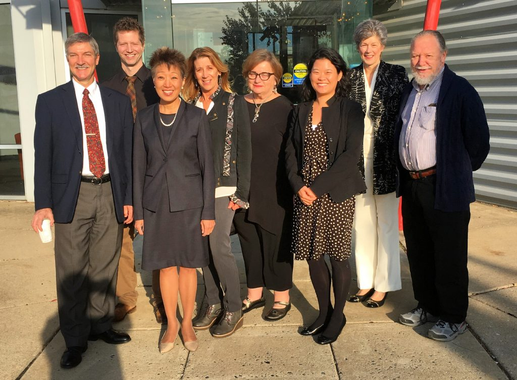 From left to right: Paul Weagraff, Director of the Delaware Division of the Arts; David Keller, Interim Executive Director of The Delaware Contemporary; Jane Chu, Chairman of the National Endowment for the Arts (NEA); Nanci Hersh, Teaching Artist; Kerin B. Hearn, Officer, Board of Directors of The Delaware Contemporary; Leeann Wallett, Communications and Marketing Officer of the Delaware Division of the Arts; Laura Scanlan, Director of State and Regional Partnerships at the NEA; and Rick Rothrock, Visual Artist at The Delaware Contemporary, Wilmington.