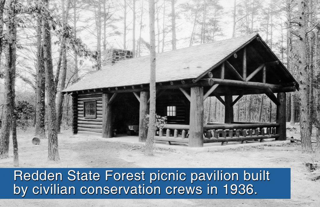 This archive photo shows the rustic pavilion on the East Bank of the Gravelly Branch that was constructed by the Civilian Conservation Corps. in 1936.