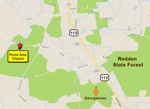 The closed picnic area is located on the Jester Tract at Redden Road and Camp Road, to the west of Route 113 in Sussex County.
